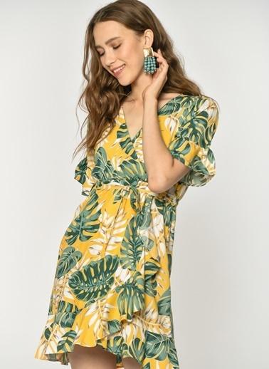 Loves You Anvelop Çiçek Desenli Viskon Elbise Sarı